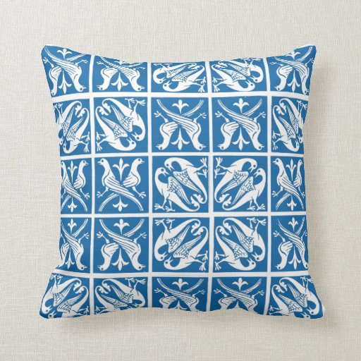Lovebirds Delft Blue and White Throw Pillow Zazzle