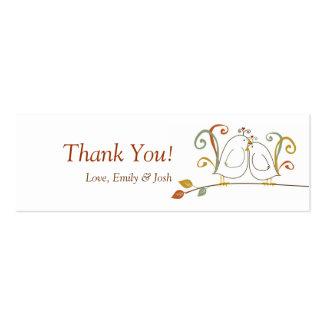 Lovebirds en etiquetas del regalo de las ramas tarjetas de visita mini