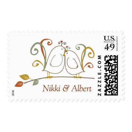 Lovebirds en sellos del personalizado de ramas