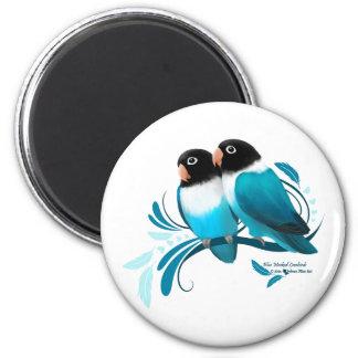 Lovebirds enmascarados azul imán redondo 5 cm