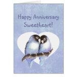 Lovebirds felices del azul del amor del aniversari tarjetón