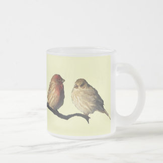 Lovebirds Frosted Glass Coffee Mug