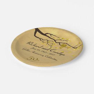 Lovebirds Golden Anniversary Paper Plate