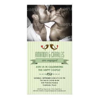 Lovebirds Green Engagement Photo Card