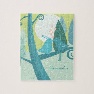 Lovebirds In Moonlight Puzzle with Gift Box