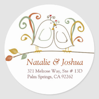 Lovebirds in the Fall Address Labels Classic Round Sticker