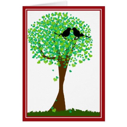 Lovebirds in Tree of Hearts - Summer Love Card