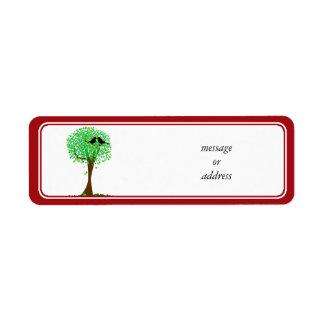 Lovebirds in Tree of Hearts - Summer Love Custom Return Address Label