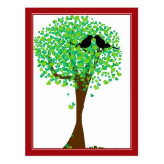 Lovebirds in Tree of Hearts - Summer Love Postcard