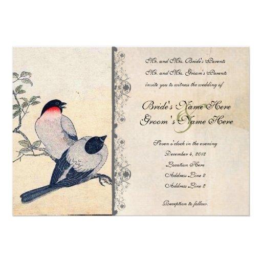 Lovebirds japoneses del vintage que casan la invit