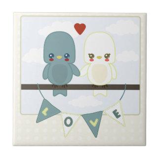 Lovebirds lindos ct azulejo cuadrado pequeño