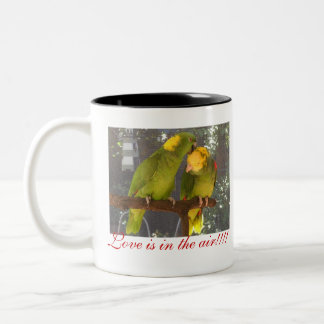 lovebirds, Love is in the air!!!!, Love is in t... Two-Tone Coffee Mug