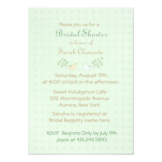 Lovebirds Mint Wedding Bridal Shower Card