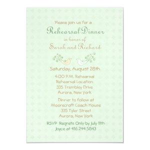 Lovebirds Mint Wedding Rehearsal Dinner 5x7 Paper Invitation Card