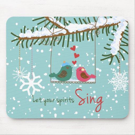 Lovebirds Mousepad del navidad Tapete De Ratones