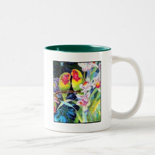 Lovebirds n Orchids Tropical Print Mug Cup