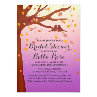 Lovebirds oak tree hearts bridal shower love1 personalized announcements