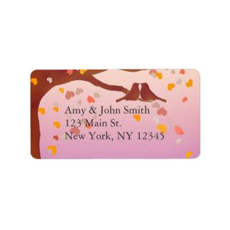 Lovebirds oak tree wedding address labels love1