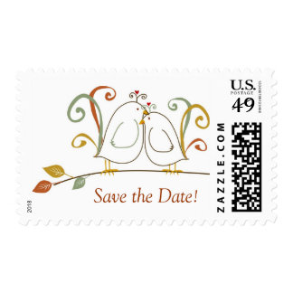 Lovebirds on Branches Save the Date Postage