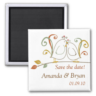 Lovebirds on Branches Save the Dates Magnet