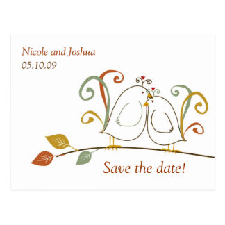 Lovebirds on Branches Save the Dates Postcard