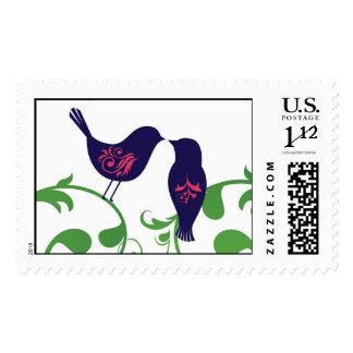 Lovebirds on swirls stamps