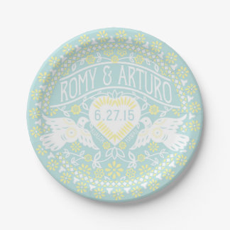 Lovebirds Papel Picado Style Customized Plate