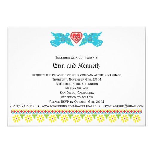 Lovebirds Papel Picado Wedding Invitation