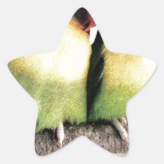 Lovebirds Pegatina En Forma De Estrella