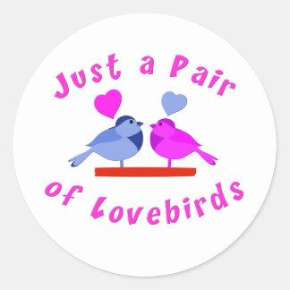 Lovebirds Pegatina Redonda
