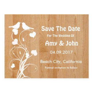 Lovebirds personalized wedding save the date postcards