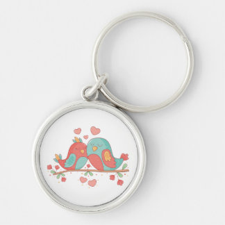 Lovebirds Pink & Blue Turquoise Wedding Love Keychain