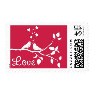 Lovebirds Pink Love Wedding Stamps