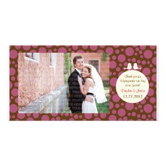 Lovebirds (Polka Dot) Wedding Thank You Photo Card