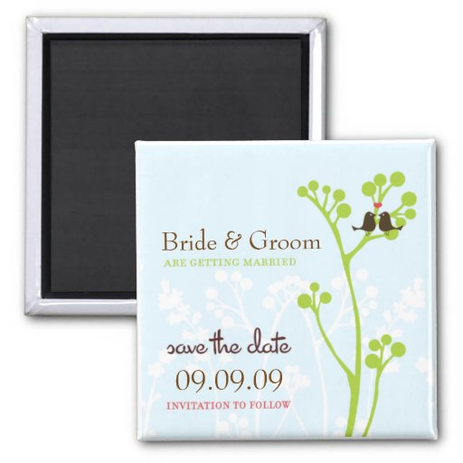 Lovebirds (Powder Blue) Save the Date Magnet