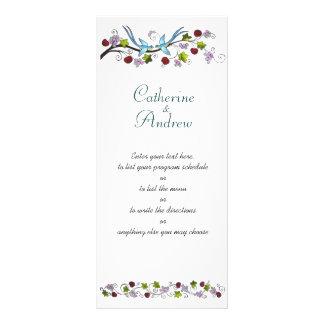 Lovebirds programación o menú diseño de tarjeta publicitaria