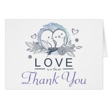Professional Business Lovebirds Purple Thank You Wedding Card