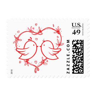 Lovebirds Red And White Heart Wedding Birds Postage