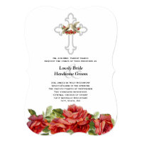 Lovebirds Red Roses Christian Wedding Invitation