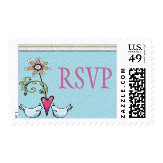 Lovebirds RSVP Stamp