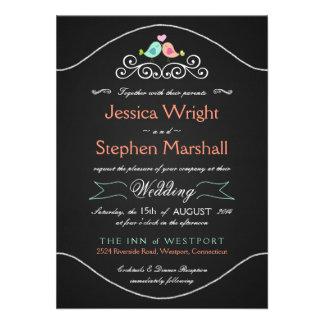 LoveBirds rústicos del boda de la pizarra Invitaciones Personalizada