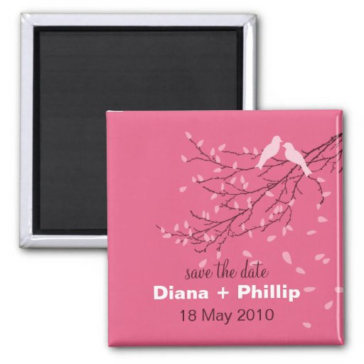 Lovebirds Save the Date Magnet in Pink