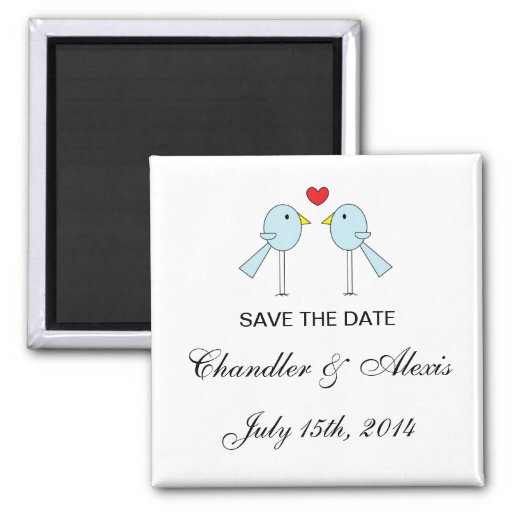 """""""Lovebirds"""" Save the Date Magnets"""