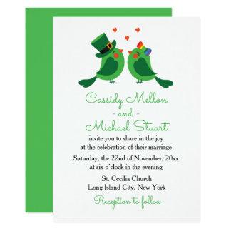 Lovebirds & Shamrock Green & White  Wedding Love Card