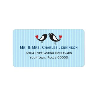 Lovebirds Striped Blue Address Label