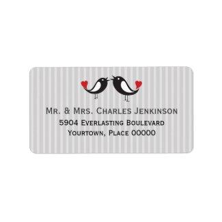 Lovebirds Striped Gray Address Label