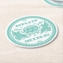 """Lovebirds teal 4"""" paper coaster"""