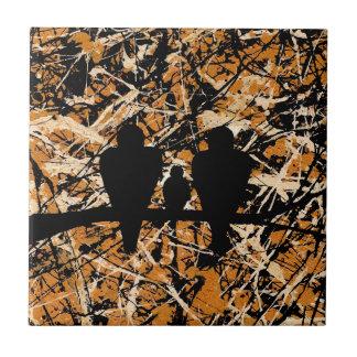 LOVEBIRDS: THREE'S COMPANY (bird design) ~ Tile