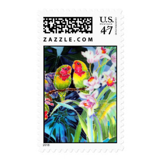 Lovebirds Tropical Orchids Postage Stamps