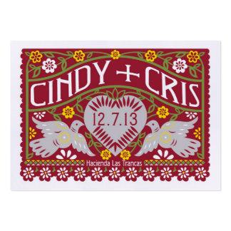 Lovebirds Wedding Banners Favor Card Spanish